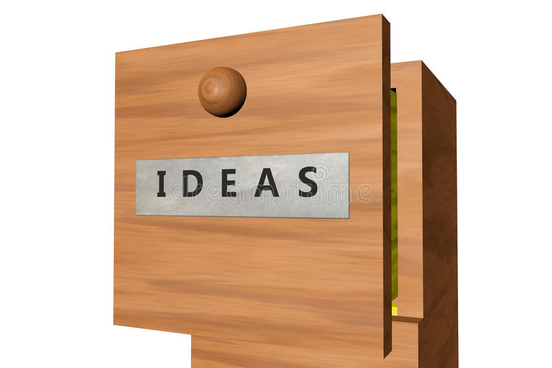 Drawer with ideas documents. 3D rendered image of drawer with ideas documents stock illustration