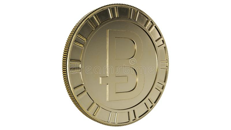 Cryptocurrency - Bitcoin 3D imagery. This is 3d rendered image of a golden Bitcoin - a digital Cryptocurrency royalty free illustration