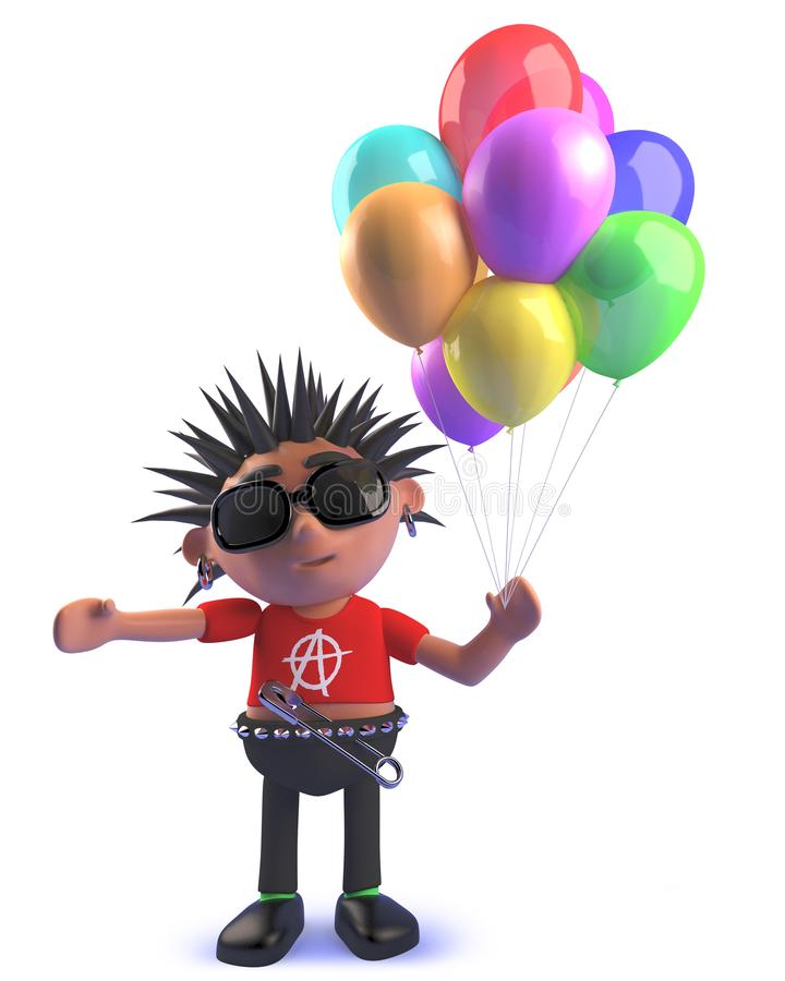 Punk rock 3d kid holding a bunch of colored balloons stock illustration