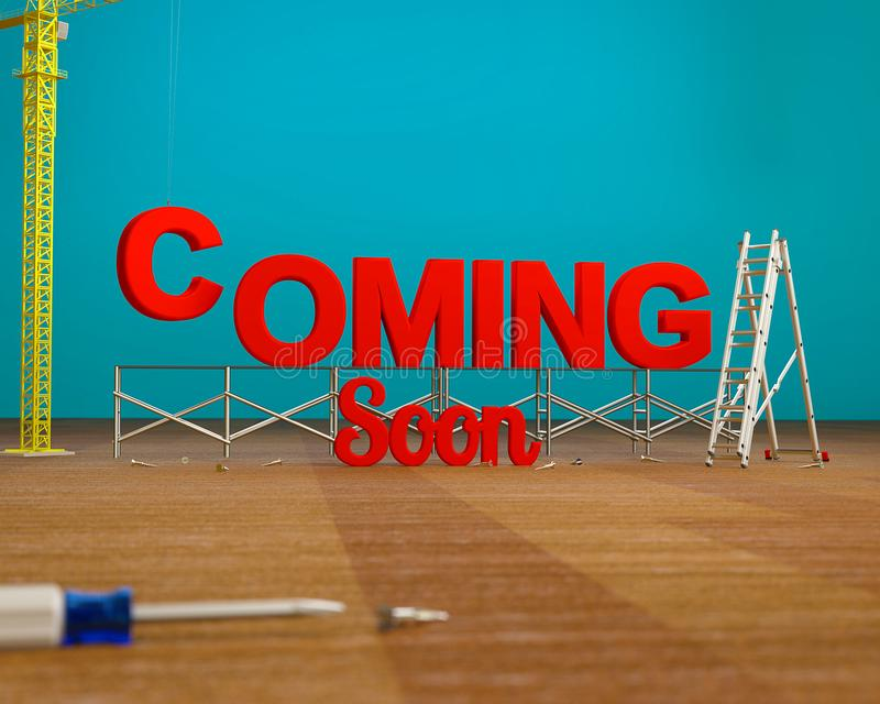 3D rendered image of red Coming Soon text with a construction tools on teal blue background. stock illustration