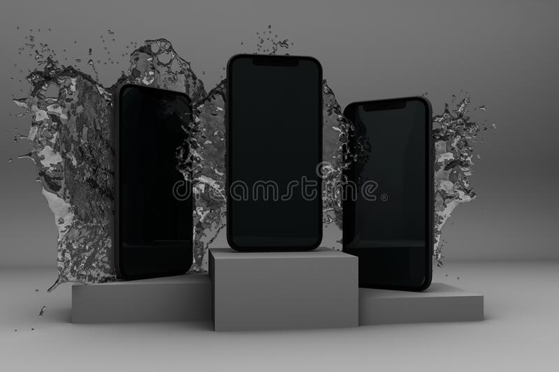 3D rendered image of smartphone splashing by water. On white background stock illustration