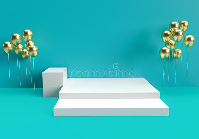 3d rendered interior with geometric shapes, podium on the floor and floating balloons, Set of platforms for product presentation,. Mock up background royalty free illustration