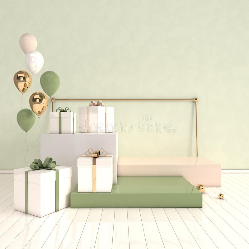 3d rendered interior with geometric shapes, podium on the floor and gift box, glossy balloons. Set of platforms for product vector illustration
