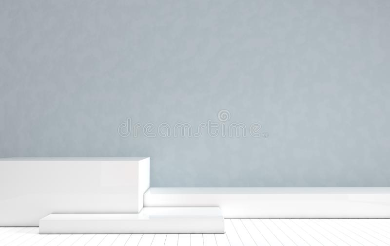 3d rendered interior with geometric shapes, podium on the floor. Set of platforms for product presentation, mock up background. vector illustration