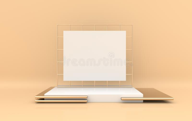 3d rendered interior with golden and white geometric shapes, podium on the floor and frame. Set of platforms for product. Presentation, mock up background royalty free illustration