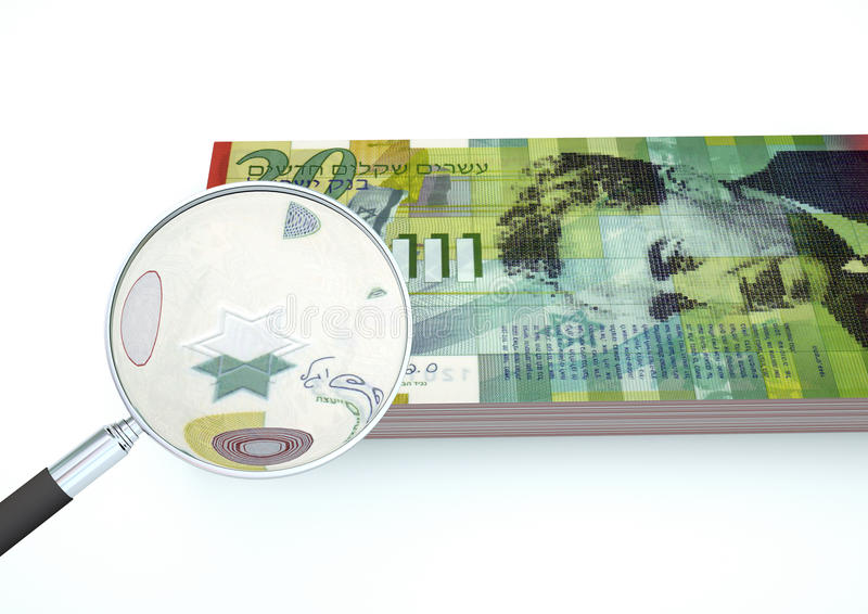 3D Rendered Israel money with magnifier investigate currency isolated on white background royalty free stock photo