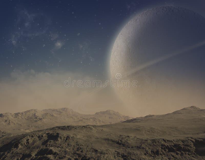 3d rendered landscape. Deserted earth with planets stock illustration