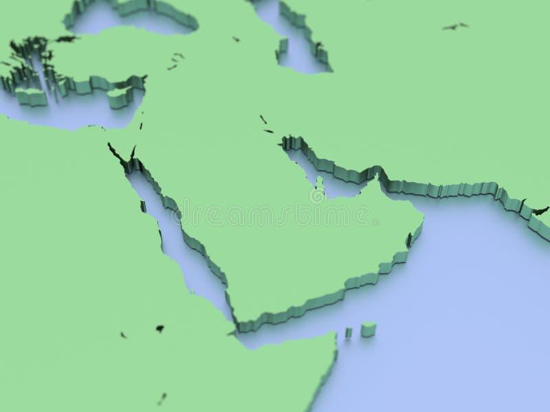 3D rendered map of Arabian Peninsula. A 3D rendered map of the Arabian Peninsula and middle East royalty free illustration