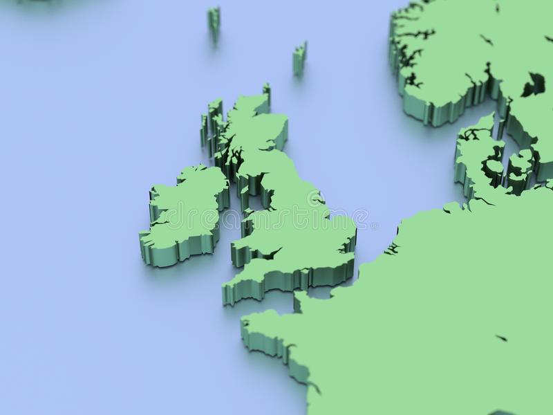 3D rendered map of British Isles. A 3D rendered map of the British Isles and Atlantic Ocean royalty free illustration