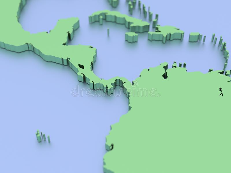 A 3D Rendered Map of Central America.  royalty free illustration
