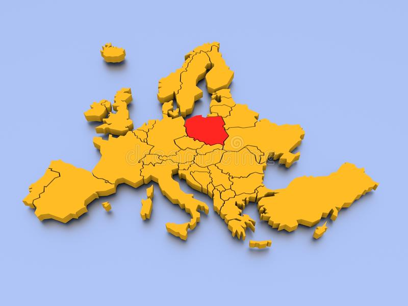 3D Rendered Map of Europe. A 3D rendered map of Europe royalty free illustration