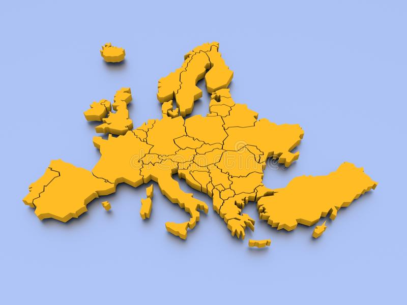 3D rendered map of Europe. A 3D rendered map of Europe with national borders royalty free illustration