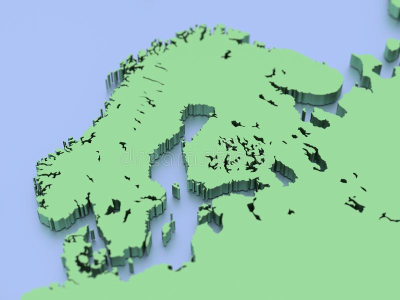3D rendered map of Finland and Scandinavia. A 3D rendered map if Finland and Scandinavia and the northern Europe vector illustration