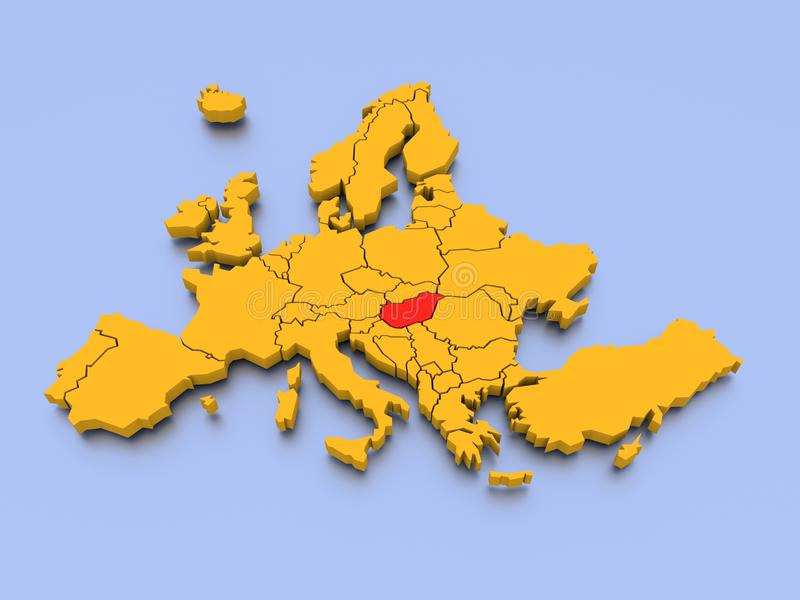 3D rendered map of Europe with Hungary. A 3D rendered map with Hungary marked in red royalty free illustration