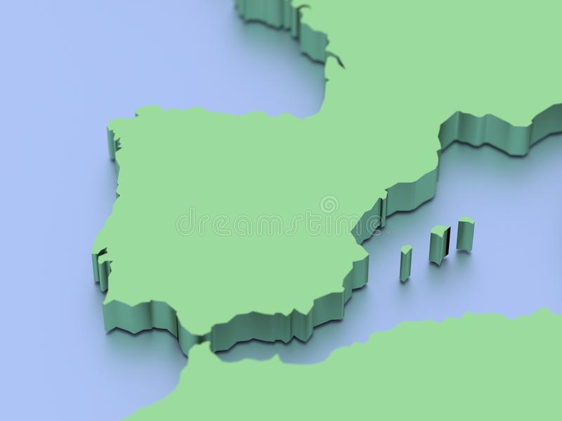 3D map of Iberian peninsula. A 3D rendered map of the Iberian Peninsula and strait of Gibraltar stock illustration