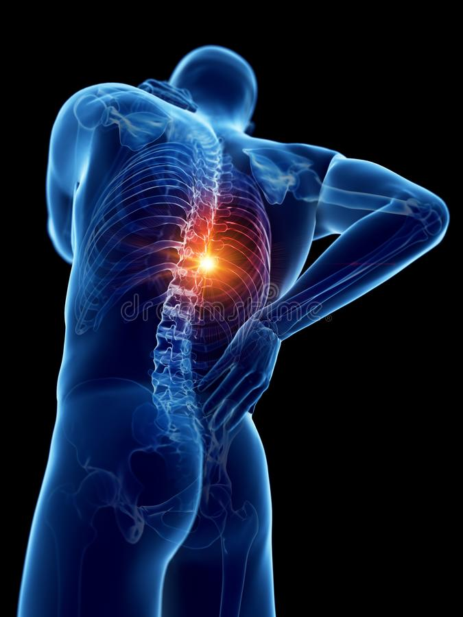A man having a painful back. 3d rendered medically accurate illustration of a man having a painful back royalty free illustration