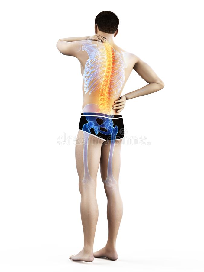A mans painful back stock illustration