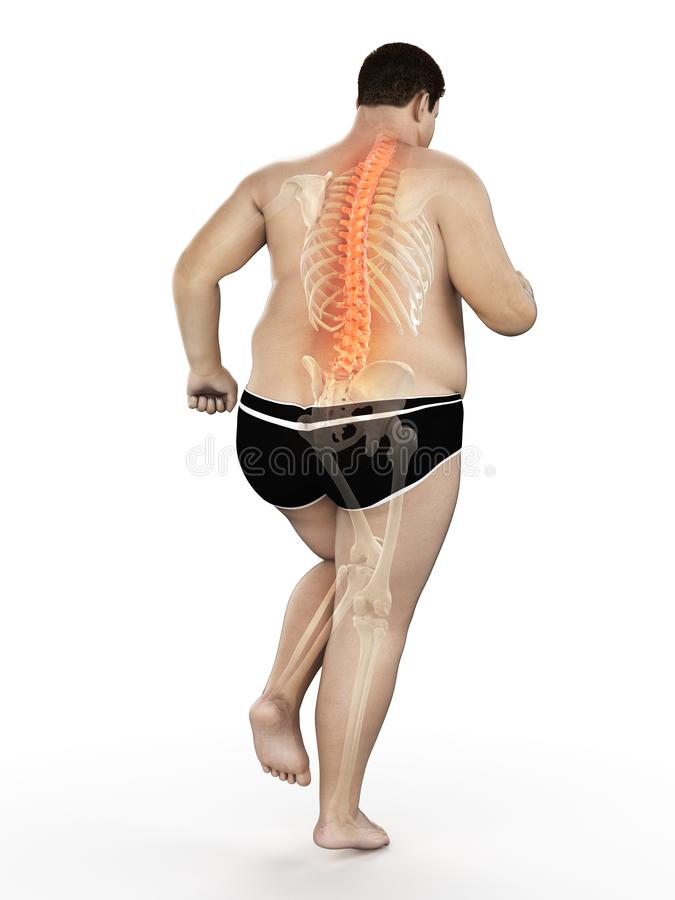 An obese runners painful back stock illustration