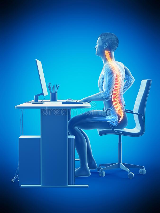 An office workers painful back. 3d rendered medically accurate illustration of an office workers painful back stock illustration