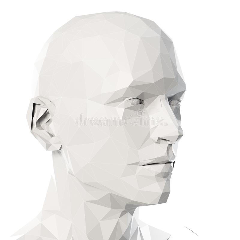 A poly style head. 3d rendered medically accurate illustration of a poly style head royalty free illustration