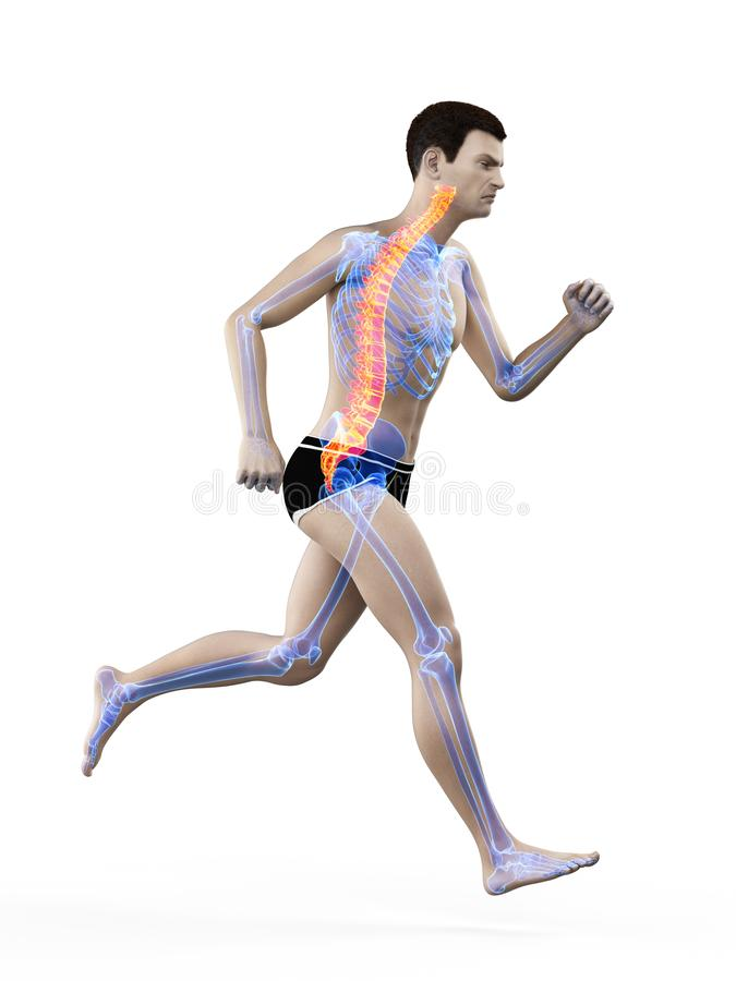 a runners painful back vector illustration