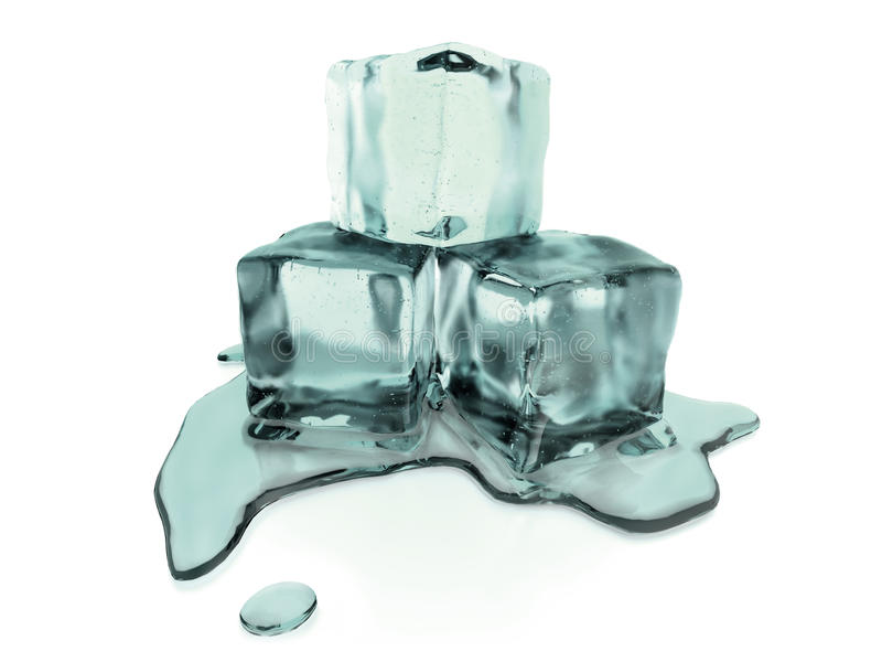 3d rendered melting ice cubes with clipping path