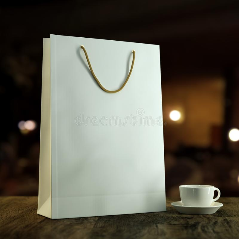 3d rendered mockup illustration Empty blank template of a white paper shopping bag for purchases on a wooden table with stock images