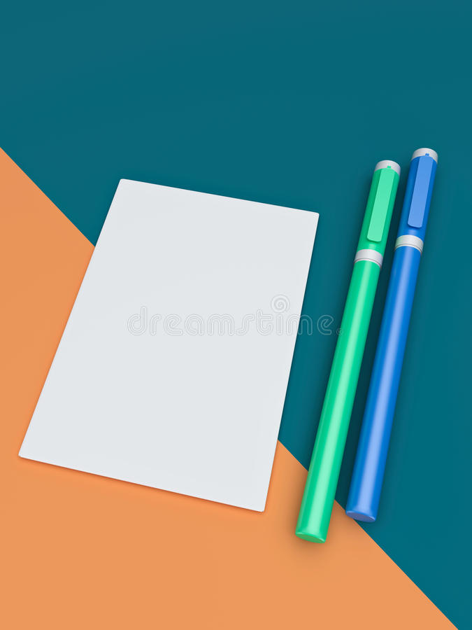 3d rendered paper and pens. 3d rendered White paper and two pens royalty free illustration
