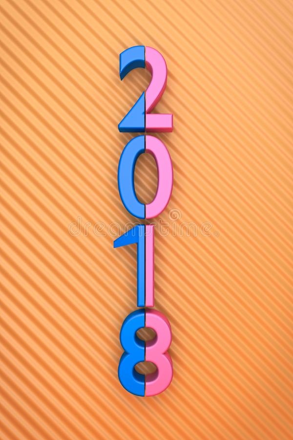 3d rendered 2018. In a pattern background stock illustration