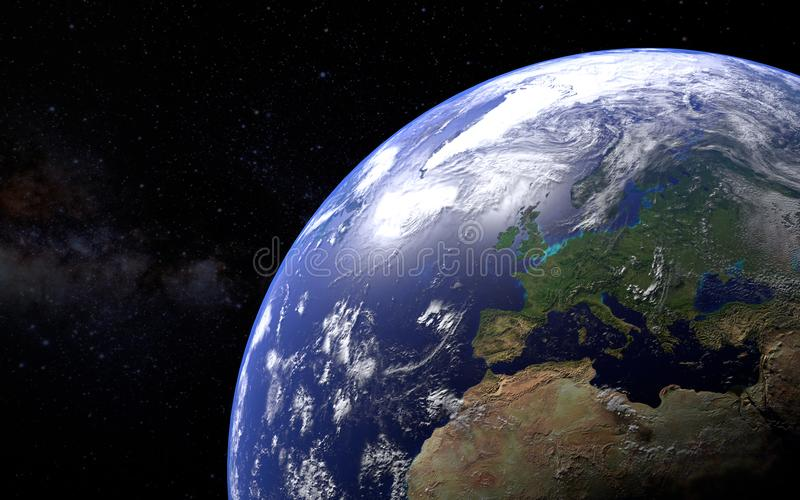3d rendered planet earth with focus over Europe stock illustration