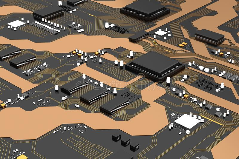 3D Rendered printed circuit board with cpu chipset processor electronic element vector illustration