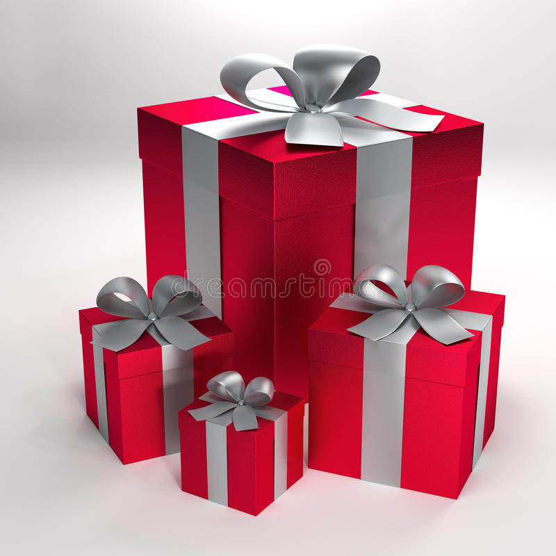 3d rendered red gift boxes. 3d illustration of four red gift boxes with silver ribbons and bows with clipping path vector illustration