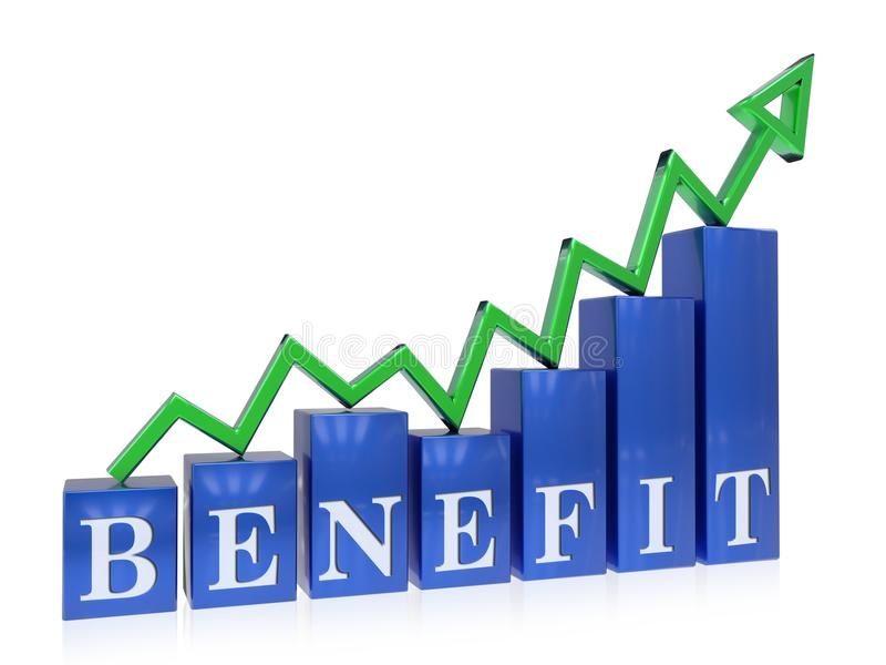Rising benefit graph. 3d rendered rising benefit graph , isolated on white background stock illustration