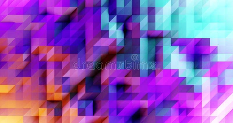 Modern 3d render geometric pattern, colorful mosaic poster design royalty free illustration