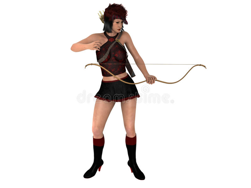 3D Rendered Woman With Bow And Arrows Stock Illustration - Illustration Of Police -1604