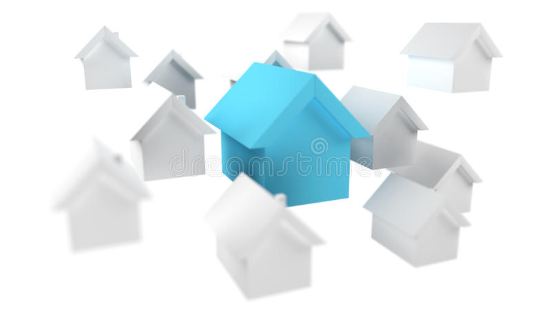 3D rendered small white and blue houses. On white background stock illustration