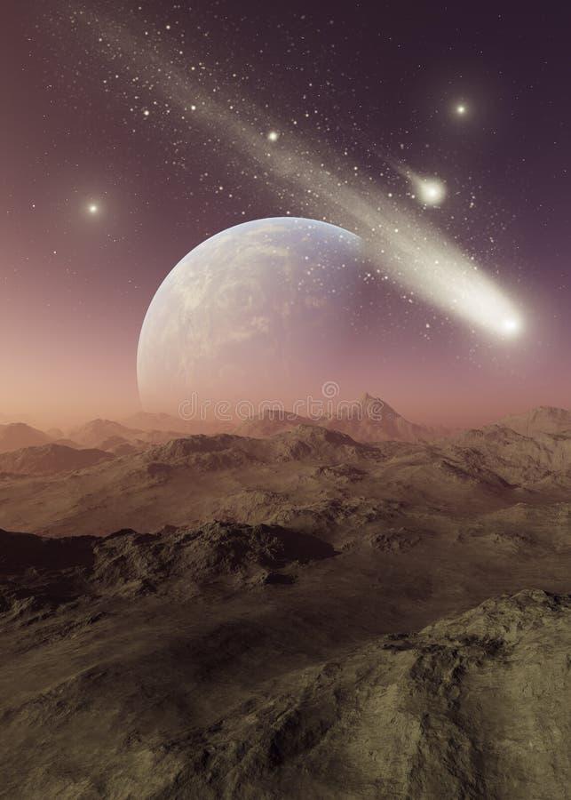 3d rendered Space Art: Alien Planet. A Fantasy Landscape royalty free illustration