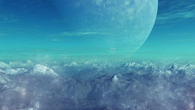 3d rendered Space Art: Alien Planet. A Fantasy Landscape royalty free illustration