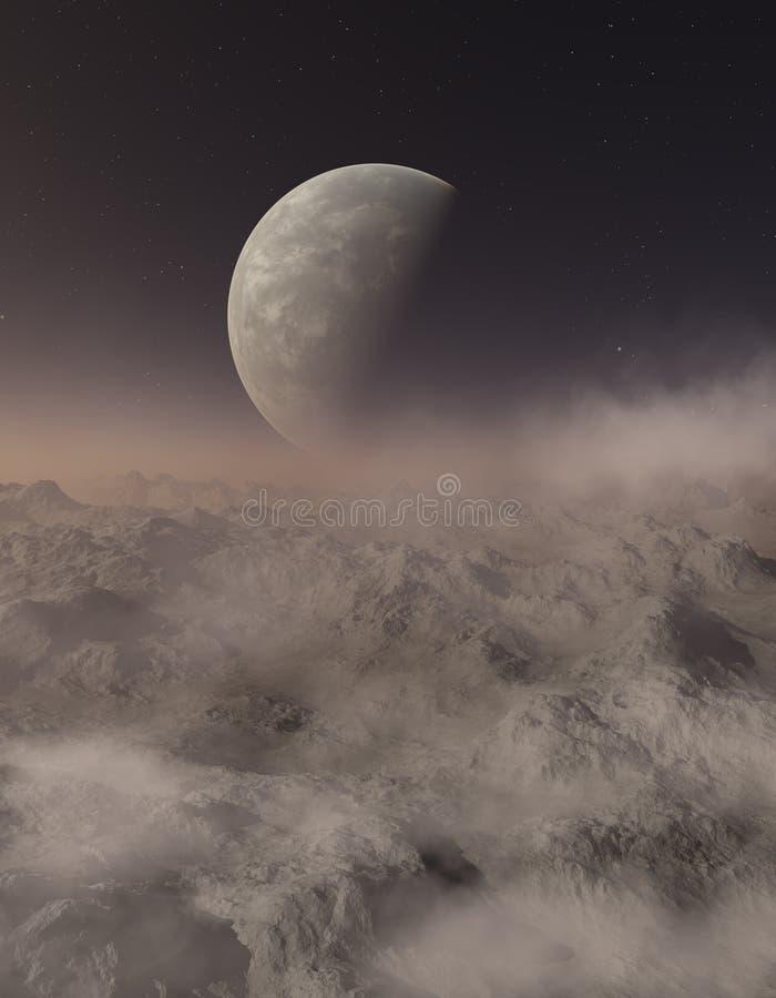 3d rendered Space Art: Alien Planet. A Fantasy Landscape vector illustration