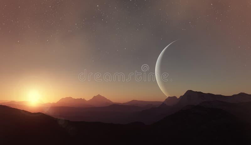 3d rendered Space Art: Alien Planet - A Fantasy Landscape.  vector illustration