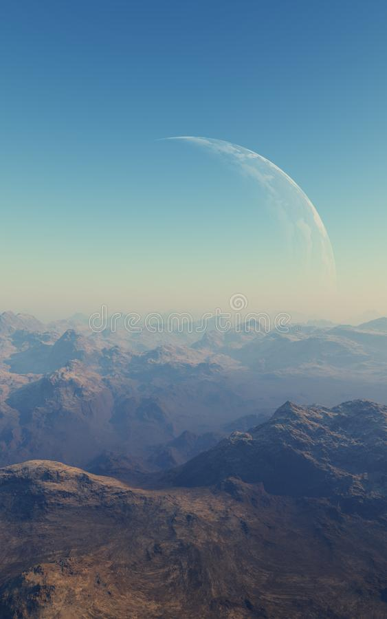 3d rendered Space Art: Alien Planet. A Fantasy Landscape stock illustration