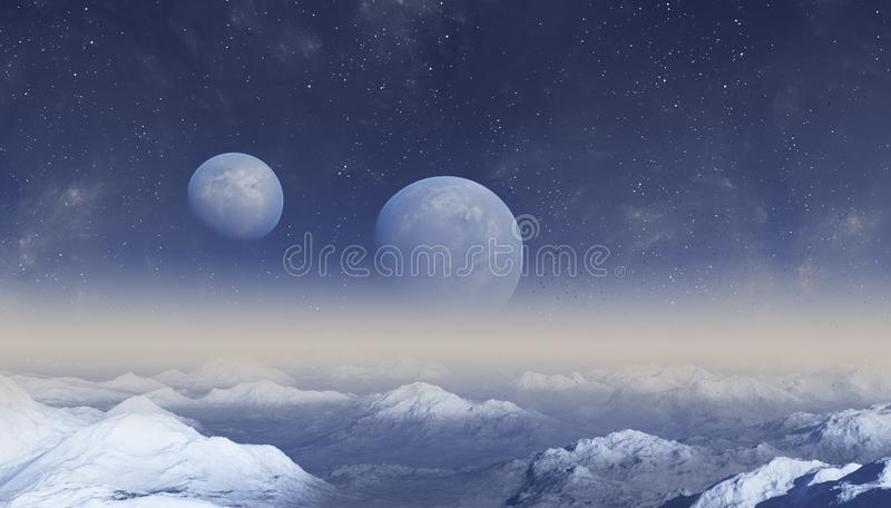 3d rendered Space Art: Alien Planet - A Fantasy Landscape with blu skies.  royalty free illustration