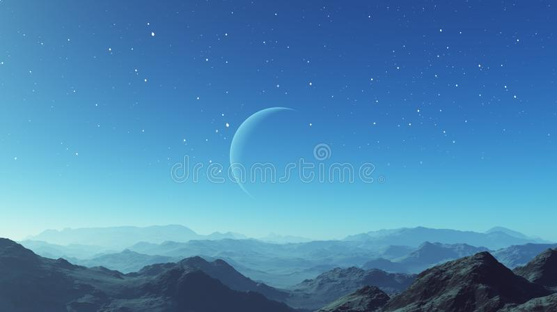 3d rendered Space Art: Alien Planet - A Fantasy Landscape with blue skies and stars vector illustration