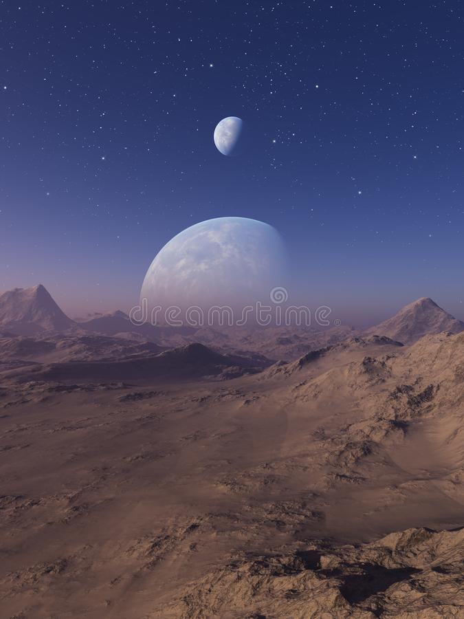 3d rendered Space Art: Alien Planet - A Fantasy Landscape with blue skies and stars stock illustration