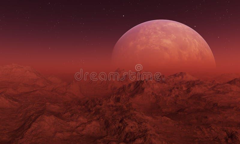 3d rendered Space Art: Alien Planet. A Fantasy Landscape stock illustration