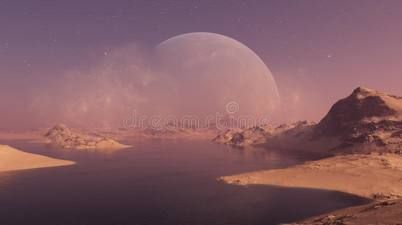 3d rendered Space Art: Alien Planet - A Fantasy Landscape.  royalty free illustration