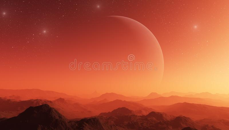 3d rendered Space Art: Alien Planet - A Fantasy Landscape with planet and red skies.  stock illustration