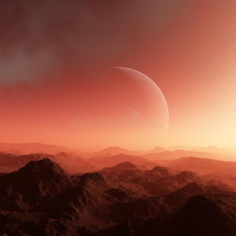3d rendered Space Art: Alien Planet - A Fantasy Landscape with red skies and clouds.  stock illustration