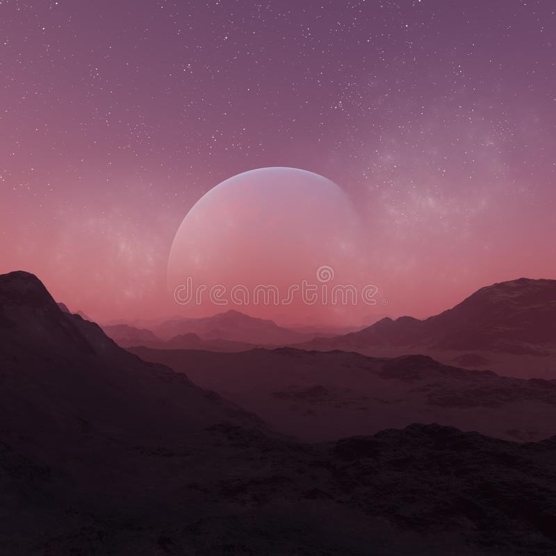 3d rendered Space Art: Alien Planet - A Fantasy Landscape with red skies and stars stock illustration