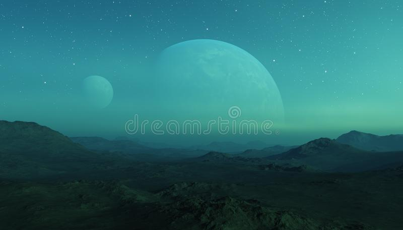 3d rendered Space Art: Alien Planet - A Fantasy Landscape with two planets.  royalty free illustration